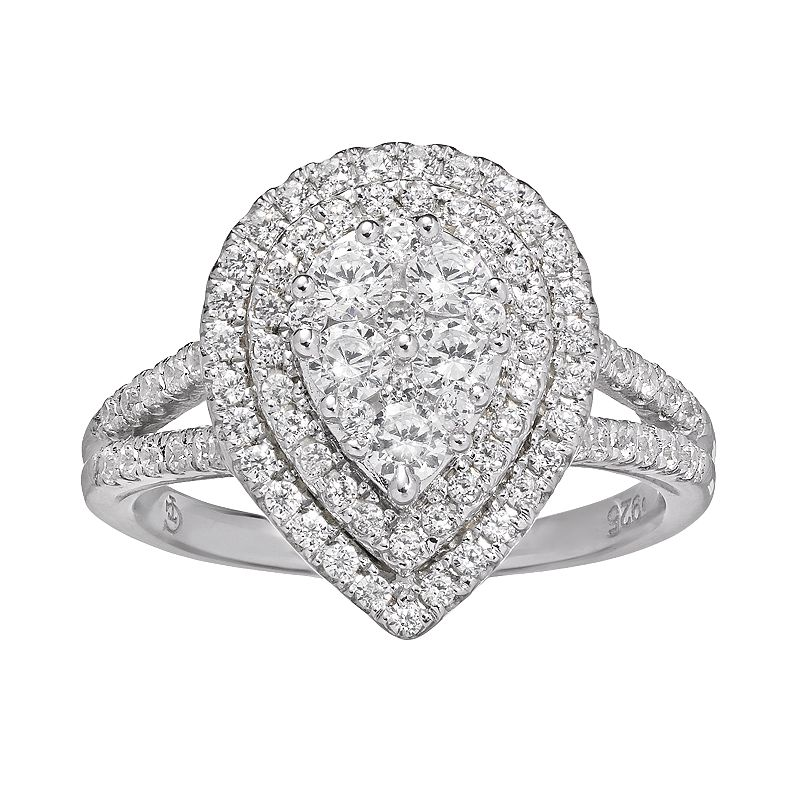 1 Carat T.W. Diamond 10k White Gold Tiered Teardrop Ring