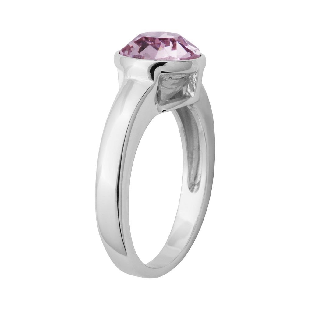 Sterling Silver Crystal Solitaire Ring