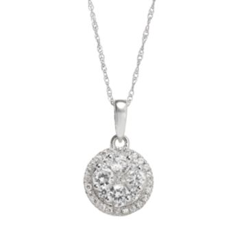 3/4 Carat T.W. Diamond 10k White Gold Halo Pendant Necklace