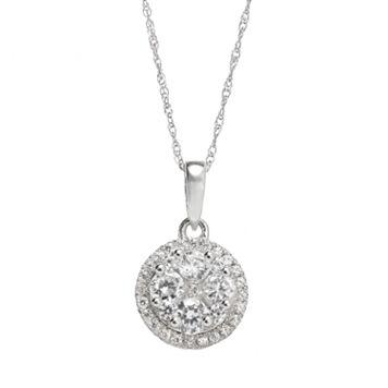 3/4 Carat T.W. Diamond 10k White Gold Halo Pendant Necklace