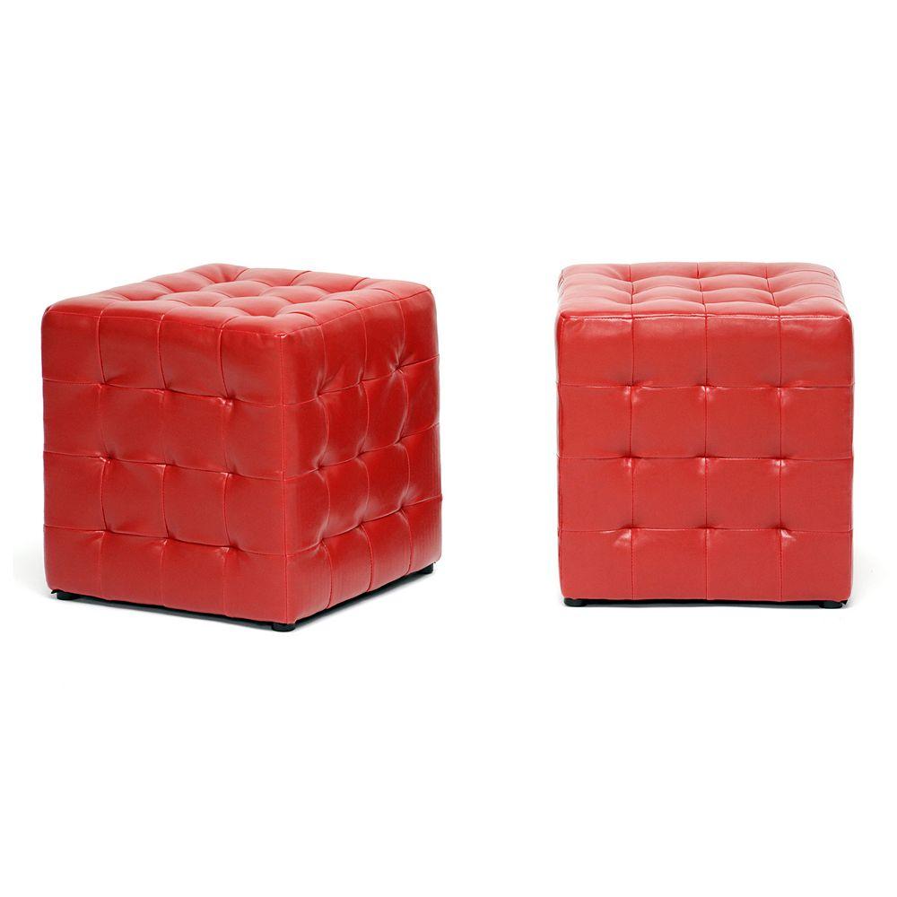Baxton Studio 2-piece Siskal Cube Ottoman Set