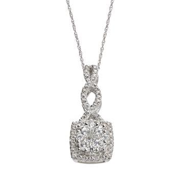 3/4 Carat T.W. Diamond 10k White Gold Twist Square Halo Pendant Necklace