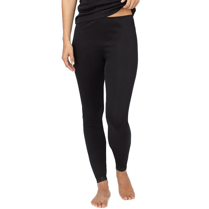 Cuddl Duds Softwear with Lace Edge Leggings - Women's Plus Size