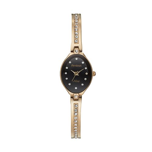 Armitron NOW Women's Crystal Half-Bangle Watch - 75/5243BKGP