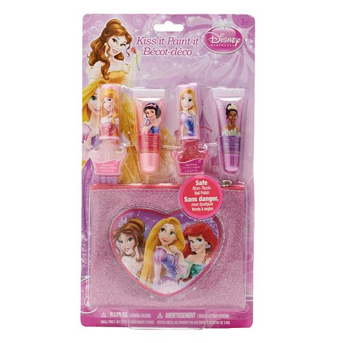 Disney Princess Nail Polish & Lip Gloss Cosmetic Set - Girls