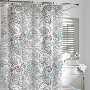 Gray And Teal Shower Curtain.  Kassatex Paisley Fabric Shower Curtain