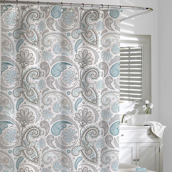Cassadecor Floral Swirls Fabric Shower Curtain