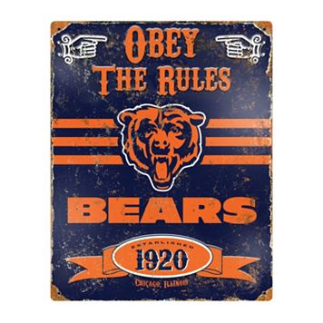 Chicago Bears Embossed Metal Sign