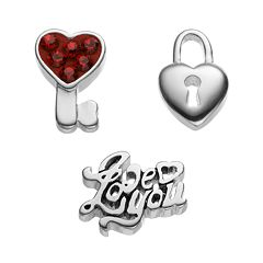 Blue La Rue Crystal Silver-Plated Heart Lock, Key & 'I Love You' Charm Set