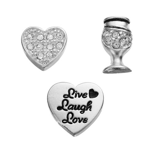 "Blue La Rue Crystal Silver-Plated Heart, Wine Glass & ""Live Laugh Love"" Charm Set"