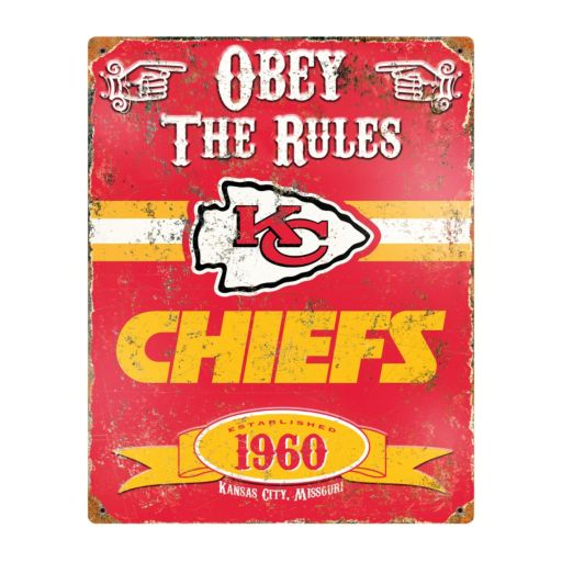 Kansas City Chiefs Embossed Metal Sign