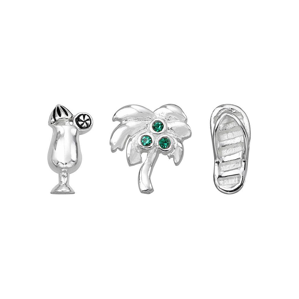 Blue La Rue Silver-Plated Crystal Daiquiri, Palm Tree & Flip-Flop Charm Set