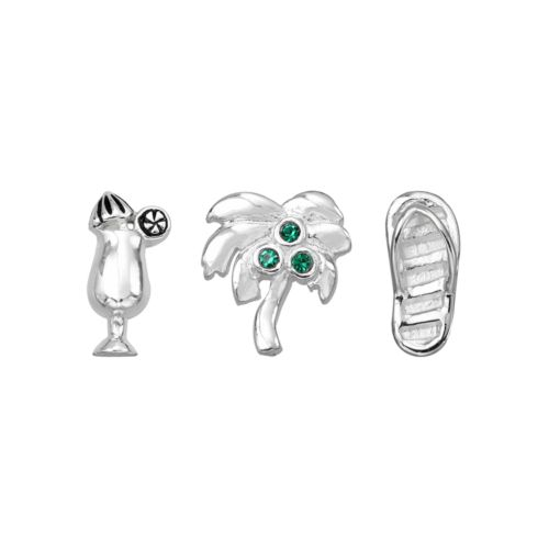 Blue La Rue Silver-Plated Crystal Daiquiri, Palm Tree and Flip-Flop Charm Set