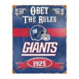 New York Giants Embossed Metal Sign