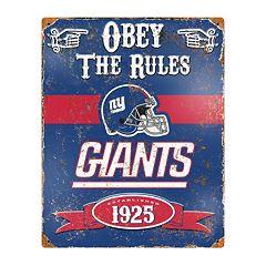 New York Giants Embossed Metal Sign