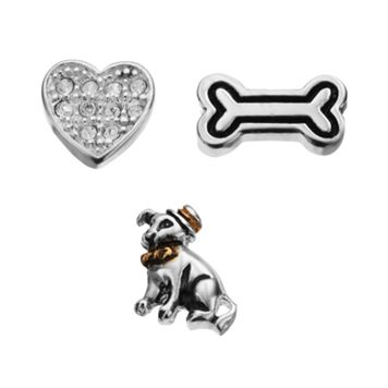 Blue La Rue Crystal Silver-Plated & 14k Gold-Plated Two Tone Dog, Bone & Heart Charm Set