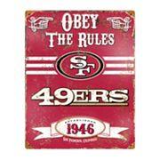 San Francisco 49ers Embossed Metal Sign