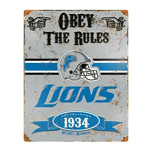 Detroit Lions Embossed Metal Sign
