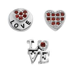 Blue La Rue Crystal Silver-Plated Heart & 'Love' Coin Charm Set