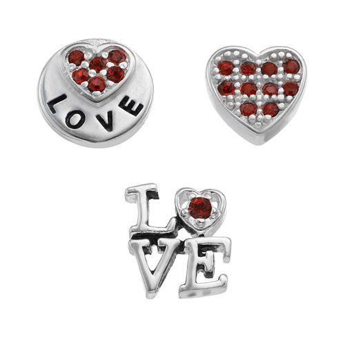"""Blue La Rue Crystal Silver-Plated Heart & """"Love"""" Coin Charm Set"""