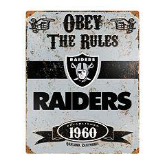 Oakland Raiders Embossed Metal Sign