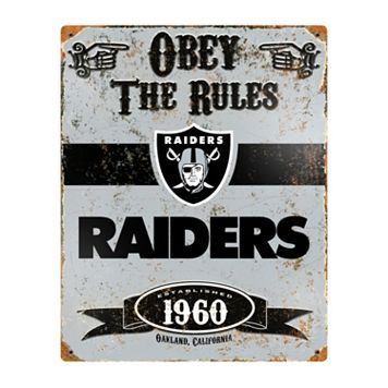 Oakland Raiders Embossed Metal Sign