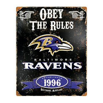 Baltimore Ravens Embossed Metal Sign