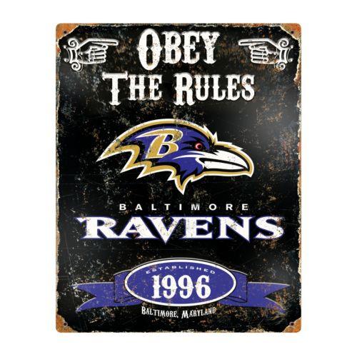 Baltimore Ravens Embossed Metal Sign