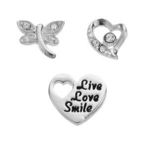 """Blue La Rue Crystal Silver-Plated Heart, Dragonfly & """"Live Love Smile"""" Heart Charm Set"""