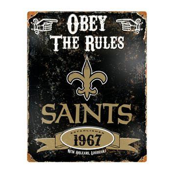 New Orleans Saints Embossed Metal Sign