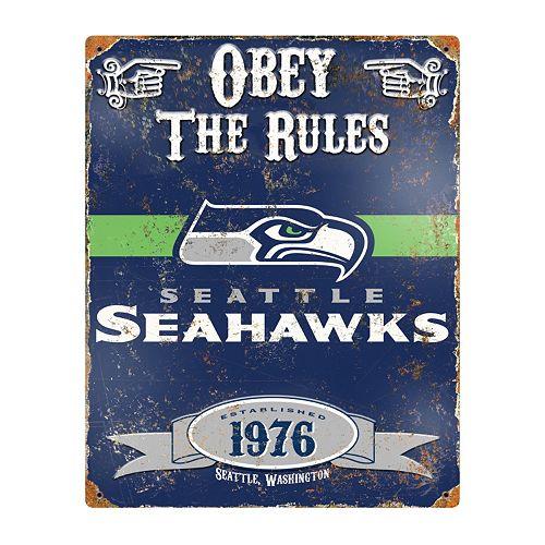 Seattle Seahawks Embossed Metal Sign