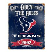 Houston Texans Embossed Metal Sign