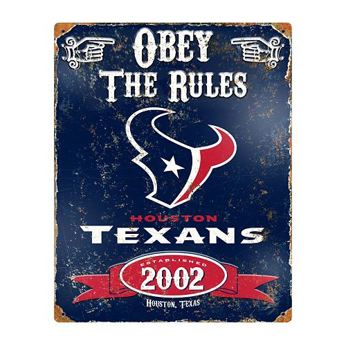 Houston Texans Embossed Metal Sign