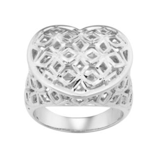 Sterling Silver Openwork Heart Ring