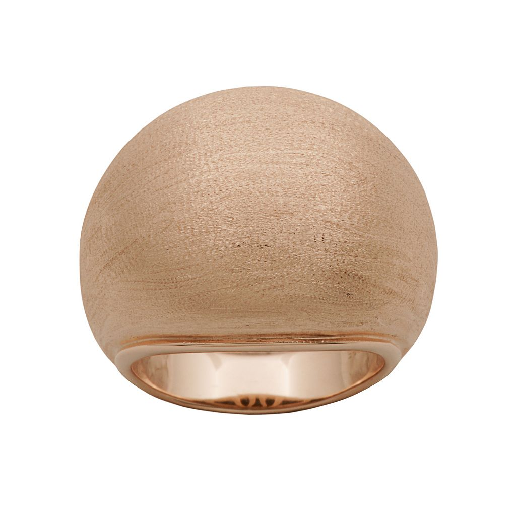 18k Rose Gold Over Silver Brushed Dome Ring