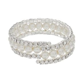 Simulated Pearl Multi Row Coil Bracelet