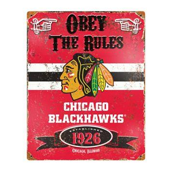 Chicago Blackhawks Embossed Metal Sign