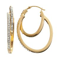Crystal 14k Gold-Bonded Sterling Silver Oval Double Hoop Earrings