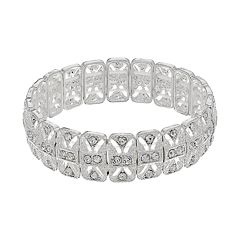 Simulated Crystal Rectangular Link Stretch Bracelet