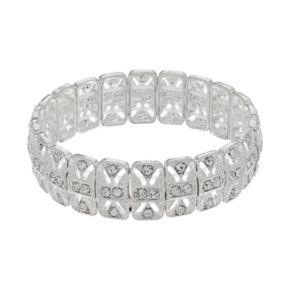 Simulated Crystal Rectangular Link Stretch Bracelet