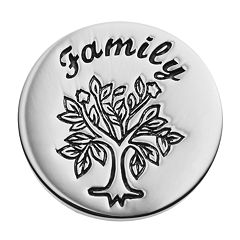 Blue La Rue Stainless Steel 'Family' Tree Coin Charm