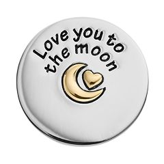 Blue La Rue Stainless Steel & 14k Gold-Plated Two Tone 'Love You to the Moon' Coin Charm
