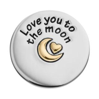 """Blue La Rue Stainless Steel & 14k Gold-Plated Two Tone """"Love You to the Moon"""" Coin Charm"""