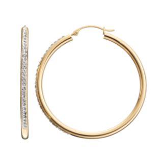 Crystal 14k Gold-Bonded Sterling Silver Hoop Earrings