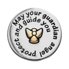 """Blue La Rue Stainless Steel & 14k Gold-Plated Two Tone """"Guardian Angel"""" Coin Charm"""