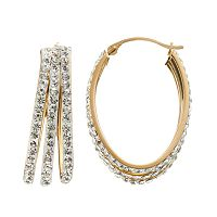 Crystal 14k Gold-Bonded Sterling Silver Oval Triple Hoop Earrings