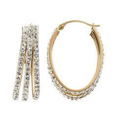 Crystal 14k Gold-Bonded Sterling Silver Oval Triple Hoop Earrings