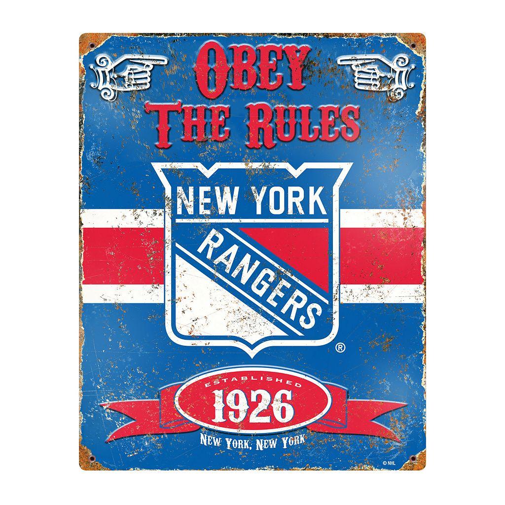 New York Rangers Embossed Metal Sign