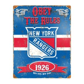 New York Rangers Embossed Metal Sign
