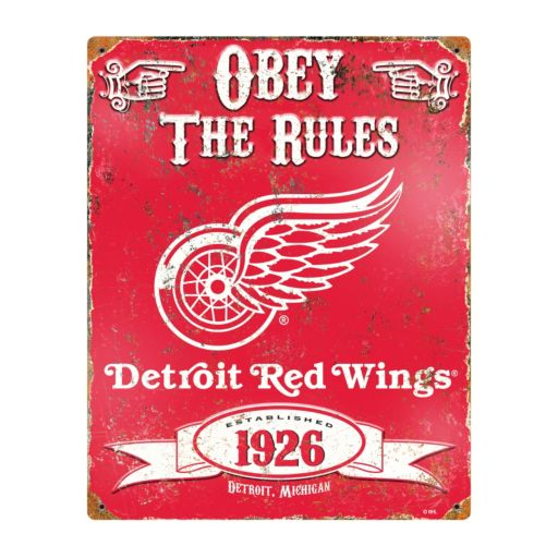 Detroit Red Wings Embossed Metal Sign